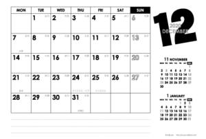 2020年12月 モノトーンカレンダー(横1ヶ月/ポストカード)