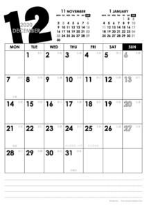 2020年12月|モノトーンカレンダー(縦1ヶ月/A4)