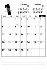 2020年1月|モノトーンカレンダー(縦1ヶ月/ポストカード)