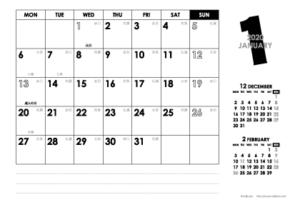 2020年1月 モノトーンカレンダー(横1ヶ月/ポストカード)