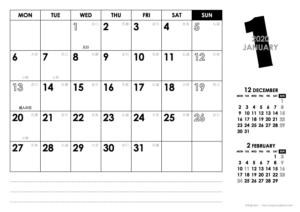2020年1月|モノトーンカレンダー(横1ヶ月/A4)