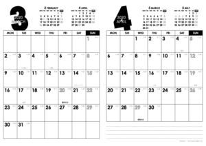 2020年3・4月|モノトーンカレンダー(縦2ヶ月/A4)