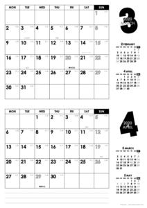 2020年3・4月|モノトーンカレンダー(横2ヶ月/A4)