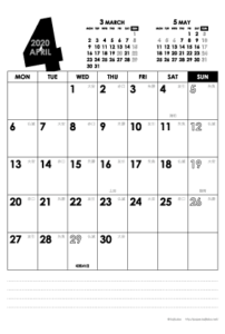 2020年4月|モノトーンカレンダー(縦1ヶ月/ポストカード)