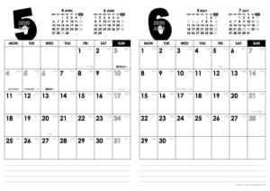 2020年5・6月|モノトーンカレンダー(縦2ヶ月/A4)