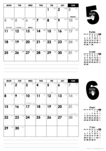 2020年5・6月|モノトーンカレンダー(横2ヶ月/A4)