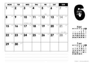 2020年6月 モノトーンカレンダー(横1ヶ月/ポストカード)