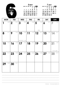 2020年6月|モノトーンカレンダー(縦1ヶ月/A4)