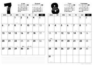 2020年7・8月|モノトーンカレンダー(縦2ヶ月/A4)
