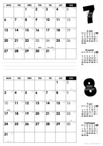 2020年7・8月|モノトーンカレンダー(横2ヶ月/A4)
