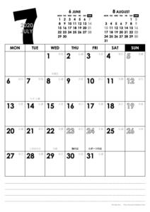 2020年7月|モノトーンカレンダー(縦1ヶ月/A4)