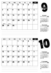 2020年9・10月|モノトーンカレンダー(横2ヶ月/A4)