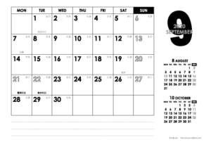2020年9月 モノトーンカレンダー(横1ヶ月/ポストカード)
