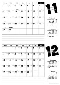 2021年11・12月|モノトーンカレンダー(横2ヶ月/A4)