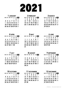 2021年モノトーンカレンダー(年間・たて/A4)