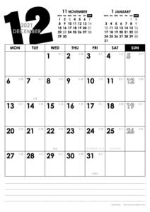 2021年12月|モノトーンカレンダー(縦1ヶ月/A4)