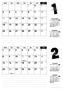2021年1・2月|モノトーンカレンダー(横2ヶ月/A4)