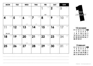 2021年1月|モノトーンカレンダー(横1ヶ月/A4)