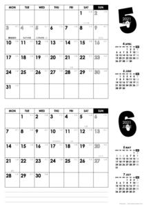 2021年5・6月|モノトーンカレンダー(横2ヶ月/A4)