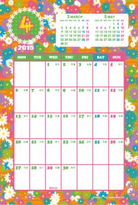 2015年4月|キッズポップカレンダー(縦1ヶ月/ポストカード)