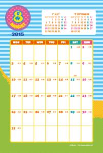 2015年8月|キッズポップカレンダー(縦1ヶ月/ポストカード)