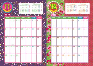 2016年11・12月|キッズポップカレンダー(縦2ヶ月/A4)