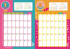 2016年1・2月|キッズポップカレンダー(縦2ヶ月/A4)