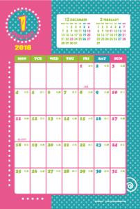 2016年1月|キッズポップカレンダー(縦1ヶ月/ポストカード)