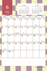 2015年6月|レトロモダンカレンダー(縦1ヶ月/ポストカード)