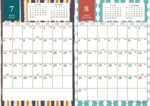 2015年7・8月|レトロモダンカレンダー(縦2ヶ月/A4)