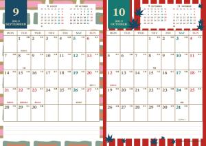 2015年9・10月|レトロモダンカレンダー(縦2ヶ月/A4)