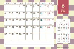 2016年6月|レトロモダンカレンダー(横1ヶ月/ポストカード)