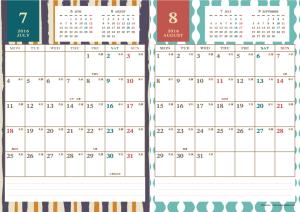 2016年7・8月|レトロモダンカレンダー(縦2ヶ月/A4)