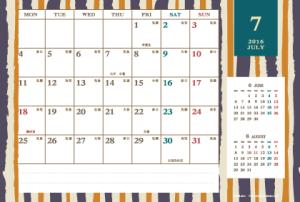 2016年7月|レトロモダンカレンダー(横1ヶ月/ポストカード)