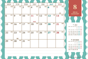 2016年8月|レトロモダンカレンダー(横1ヶ月/ポストカード)