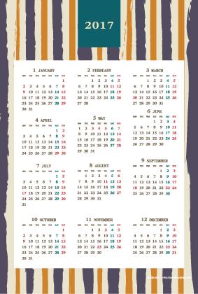 2017年レトロモダンカレンダー(年間・たて/ポストカード100×148mm)【無料ダウンロード】