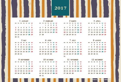 2017年レトロモダンカレンダー(年間・よこ/ポストカード148×100mm)【無料ダウンロード】