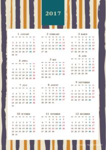2017年レトロモダンカレンダー(年間・たて/A4)【無料ダウンロード】