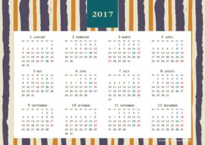 2017年レトロモダンカレンダー(年間・よこ/A4)【無料ダウンロード】