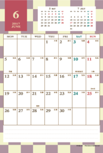 2017年6月|レトロモダンカレンダー(縦1ヶ月/ポストカード)