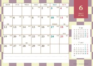 2017年6月|レトロモダンカレンダー(横1ヶ月/A4)
