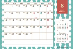 2017年8月|レトロモダンカレンダー(横1ヶ月/ポストカード)