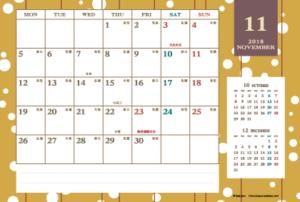 2018年11月 レトロモダンカレンダー(横1ヶ月/ポストカード)