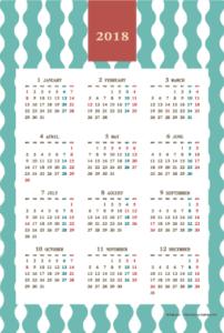 2018年レトロモダンカレンダー(年間・たて/ポストカード100×148mm)【無料ダウンロード】