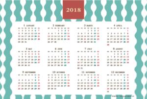 2018年レトロモダンカレンダー(年間・よこ/ポストカード148×100mm)【無料ダウンロード】