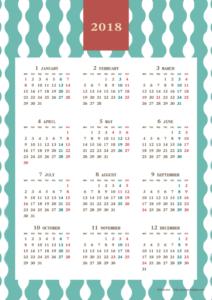 2018年レトロモダンカレンダー(年間・たて/A4)【無料ダウンロード】