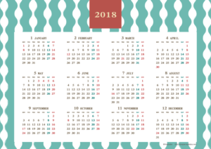 2018年レトロモダンカレンダー(年間・よこ/A4)【無料ダウンロード】