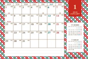 2018年1月|レトロモダンカレンダー(横1ヶ月/ポストカード)