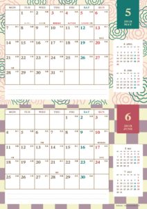 2018年5・6月|レトロモダンカレンダー(横2ヶ月/A4)