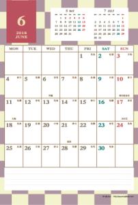 2018年6月|レトロモダンカレンダー(縦1ヶ月/ポストカード)